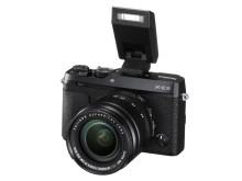 FUJIFILM X-E3 black with XF18-55mm F2.8-4 and EF-X8 flash