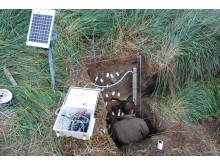 Måleudstyr som indhenter data om temperatur og vandindhold i mødding ved Sandnes/Kilarsaarfik i Nuuk-området