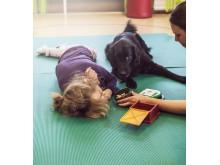 Hunden Locka i arbete - hundassisterad terapi för barn med funktionsnedsättning