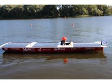 """TH Wildau mit Solarboot SUNcaTcHer auf Platz 2 bei der """"Haus-Regatta"""" auf der Dahme bei Wildau"""