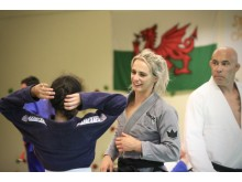 Ffion Davies coaching kids at Sport Wales Centre, Cardiff