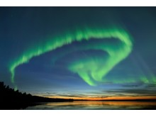 Northern Lights over Lake in Oulu in Autumn