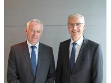 Bjarne Slapgard, konsernsjef Gudbrandsdal Energi Holding AS og Øistein Andresen, konsernsjef Eidsiva Energi