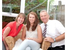 Katie with her mum and dad, Ruth and Nigel