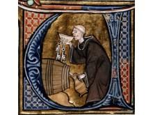 Foredrag på Lejre Museum_De drikfældige danskere. En munk smager på vin eller øl. Kredit British Library Board.