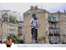 Verk av gatukonstnären Jarus (Kanada), uppfört i Kiev, Ukraina