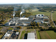 Flygfoto över ISOVERs fabrik i Billesholm