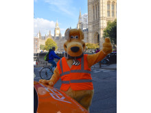 Horace waving with RAC patrol van and Big Ben