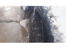 Spyl hjulbrønnen helt ren