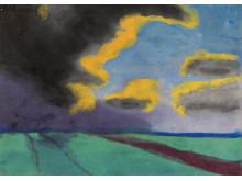 Emil Nolde: Weite Landschaft mit Wolken (o.J.).  Graphit und Gouache auf Papier und Karton. Kunstmuseum Bern, Legat Cornelius Gurlitt  2014.