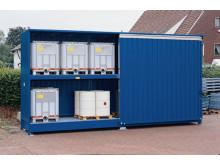 Miljöcontainer för stabil och säker förvaring av miljöfarliga ämnen.