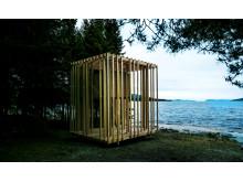 Ett av förra årets tre vindskydd som utformats och uppförts av arkitektstudenter under Arknat.