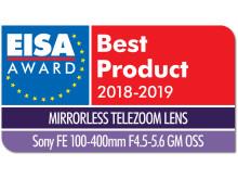 EISA Award Logo Sony FE 100-400mm F4.5-5.6 GM OSS dropshadow