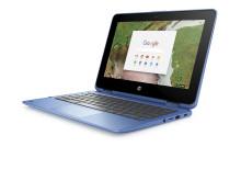 HP Chrome x360 11 blue left facing
