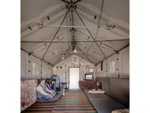 En prototyp av den nya flyktingbostaden fotograferad i Irak i mars 2015.
