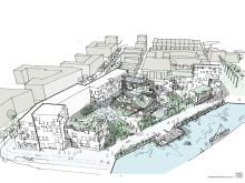 Skiss över ett storkvarter i sydvästra delen av Varvsstaden, med grundskola, förskola och bostäder.