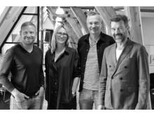 Arbetsgrupp på Momentum, från vänster: Daniel Wallin (Copy), Susanne Blomster (AD), Marcus Näslund (CD) och Anders Collin (Projektledare).