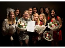 Sofie Jonsson, civilingenjör och årets vinnare av FLA tillsammans med övriga finalister