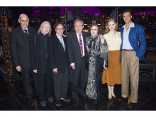 Fred Johanson, Christopher Hampton,Don Black, Andrew Lloyd Webber, Glenn Close, Siobhan Dillon and Michael Xavier backstage at the opening night of Sunset Boulevard. Photo credit Dan Wooller
