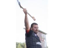 Pontus Skye är nordisk mästare. Foto: STIHL Timbersports.