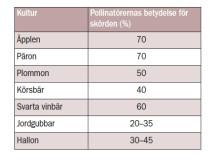 Pollinatörernas betydelse för skörd av frukt och bär