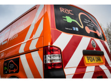 Rear view of the RAC's first EV charging van