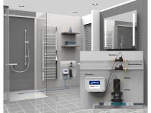 Installationsansicht SANFTLÄUFER Pumpe in bodengleicher Dusche