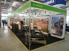 All set for TOCEurope - the Cavotec stand is ready; complete with its own cable chain.