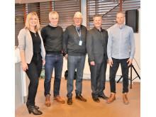F.v: Daglig leder i NGBC, Kjersti Folvik, Komitelederen for den nye NS-standarden for klimagassregnskap, Eivind Selvig, Tor-Atle Gjerde i Caverion, Daglig leder i EPD-Norge, Håkon Hauan og  avdelingsdirektør i Statsbygg , Morten Dybesland.