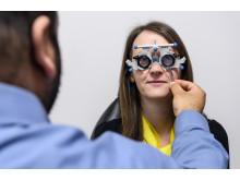 Amanda Read having an eye test at the Vision Express in Stourbridge.