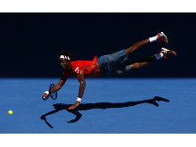 ' Superman ' - Gael Monfils dives at Australian Open 2016