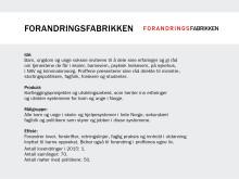 Faktaboks Forandringsfabrikken