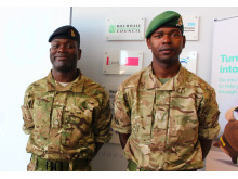 ARMY PRESENTATINMajor Twumasi-Ankrah, known as T-A, of the Household Cavalry, and Corporal Andrew Henry, of the Adjutant General's Corps
