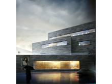 Fasade med bibliotek - Nasjonalmuseet på Vestbanen