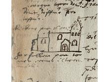 Biskop Jacob Madsens tegning af Brylle Kirke fra 1587