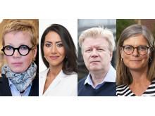 Juryn som utser årets mottagare av Bokmässans bildningsstipendium. Från vänster: Katti Hoflin, Mouna Esmailzadeh, Roger Säljö och Johanna Hansson. Juryordförande är Annica Andersson, Bokmässan.