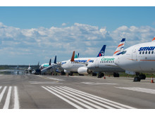 Aircraft parked on Runway 2 at Stockholm Arlanda Airport on May 24, 2017.