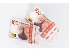 Ein Wikingerschiff ziert die Vorderseite des neuen 100 Kronen-Scheines