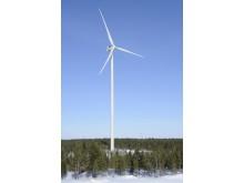 Vindturbin i en av TuuliWatti sine vindparker i Ii kommune i Finland. Viinamäki  vil også bygges i Ii kommune.