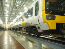 Class 465 train in Hitachi's Ashford Train Maintenance Centre