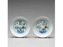 TALLRIKAR, ett par, porslin. Qingdynastin med Yongzhengs märke.
