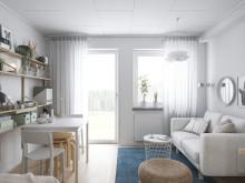 Illustration av interiör,  vardagsrumsdel, BoKlok-lägenhet 1 rok 2019