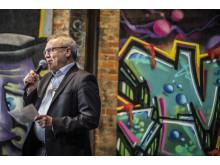 Borgmester Johnny Søtrup holder tale ved åbning af GAME Streetmekka Esbjerg