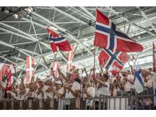 Норвежские болельщики поддерживают свою команду