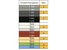 Tabell över nya färger Cembrit Transparent