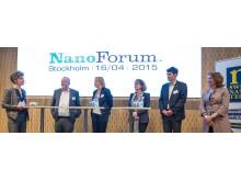 Paneldebatt med talare under NanoForum: 2015. Foto: Anders Löwdin