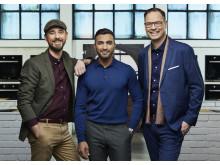 Dessertmästarnas jury: Sebastien Boudet, Roy Fares och Magnus Johansson. Foto: Magnus Selander/Kanal 5