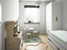 Illustration av interiör, barnrum, BoKlok-lägenhet 4 rok, 2019.