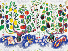 Textile print Italian Dinner by Josef Frank