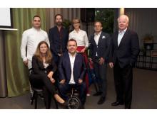 I panelen samtalade Jahja Zeqiraj, Petter Lodmark, moderatorn Catarina Rolfsdotter-Jansson, Wästbyggs koncernchef Jörgen Andersson, Kurt Eliasson, Åsa Henninge och David Lega.